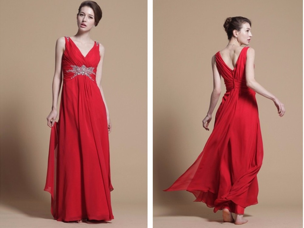red party prom gown 2018 sexy robe de soiree vestido de festa colorful v-neck formal beading long chiffon   bridesmaid     dresses