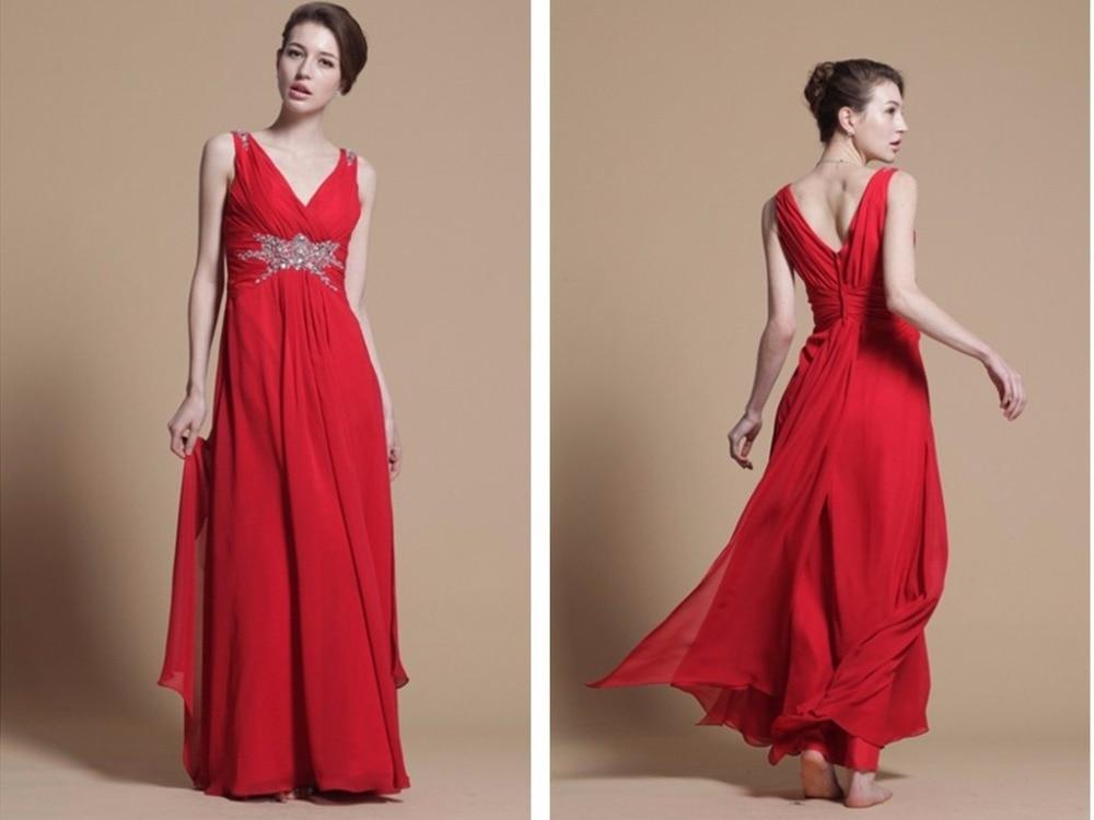 red party prom gown 2018 sexy robe de soiree vestido de festa colorful v-neck formal beading long chiffon   bridesmaid     dresses