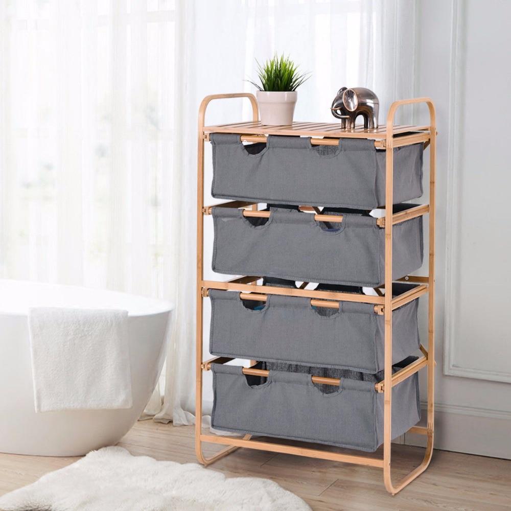 Giantex 4 Large Sliding Drawer Bamboo Dresser Bins Storage Unit Organizer Laundry Hamper Home Furniture HW56587