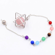 FYJS Unique Female Scrying Jewelry Silver Plated Merkaba Natural Rose Pink Quartz Round Bead Pendulum Pendant