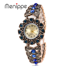 Menippe Brand Ladies Gold Plated Vintage Bracelet Watch, Women's Watches Dress Watch, Girls Fashion Quartz Watch For Christmas(China)