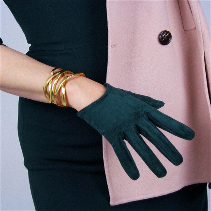 Suede Gloves 16cm Short Simulation Leather Sanding Skin Suede Matte Dark Green Women 5-JPSL16