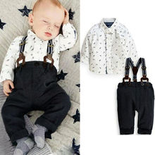 baby 2pcs clothing set!! 2016 new arrive autumn baby boy clothes baby clothing gentleman style plaid shirt + denim Bib baby boy