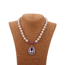 Sofias Amulet Princess Necklace Purple/Pink Simulated-Pearl Bead Necklace For Kids Girls Best Gift