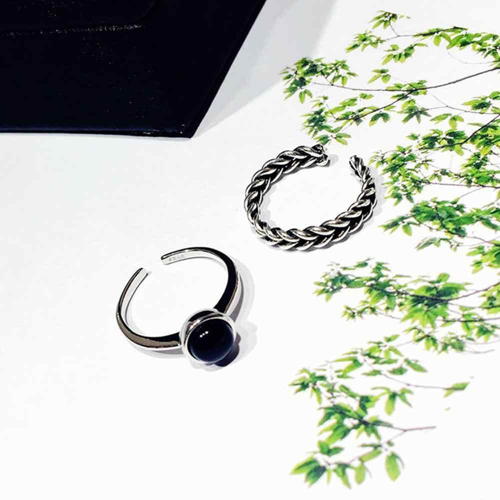 2 ชิ้น/เซ็ต VINTAGE โบราณ Silver Plated เปิดแหวน Twisted ทอ Inset เทียม Pearl ของขวัญวินเทจสีดำ ONYX เปิดแหวน