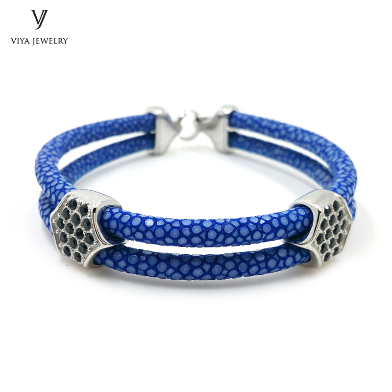 New Men Bracelets Navy Blue Stingray Leather Bracelets For Men High Quality Stainless Steel Bangle Famous Luxury Brand Jewelry luxury brand love bracelets