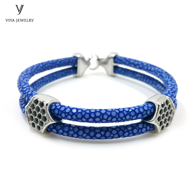 New Men Bracelets Navy Blue Stingray Leather For High Quality Stainless Steel Bangle Famous