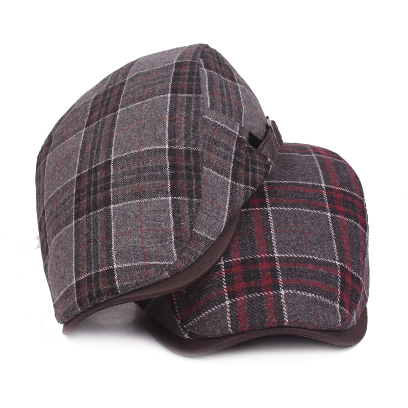 New Fashion Wool Beret Caps for Men Women Casual Winter Hats Driving Flat Unisex Plaid Berets Hat Adjustable Duckbill Cap