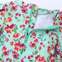 Для маленьких девочек цельная одежда с длинным рукавом Купальники с цветочным принтом Молния сзади с взъерошенными Butt купальный костюм Рашгард