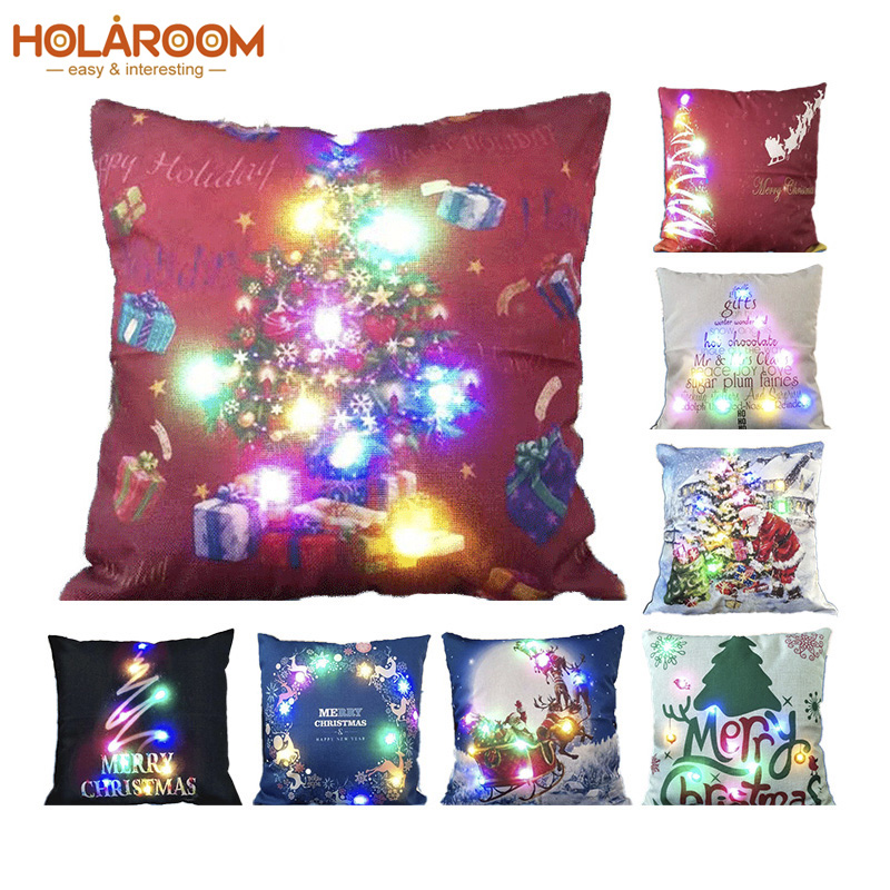 Christmas Xmas Linen Cushion Cover Throw Pillow Case Home: Light Cushion Cover LED Christmas Cotton Linen Xmas Tree