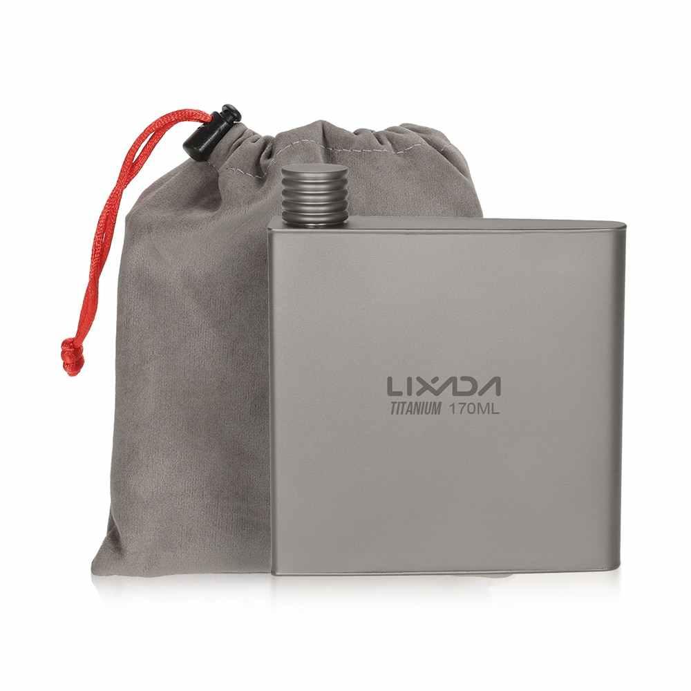 Lixada チタンワインフラスコ軽量ポータブルワインポットボトル、スプーンアルコールドリンクポット旅行キャンプバックパッキング