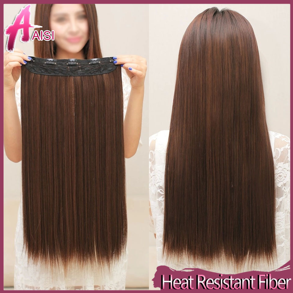 Wish 120g Straight Heat Resistant Fiber False Synthetic Clip In Hair