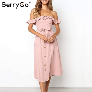 Image 3 - BerryGo Sexy off shoulder ruffled women dress Solid button sashes summer dress Elastic high waist party dress ladies midi dress