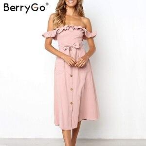 Image 3 - BerryGo Sexy off spalla increspato vestito delle donne button Solid telai vestito da estate Elastica a vita alta delle signore vestito da partito midi dress