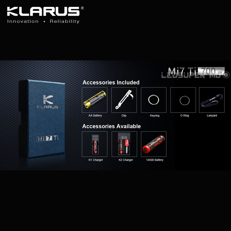 Купить с кэшбэком Best Selling KLARUS Mi7 Ti 700 Lumens CREE XP-L HI V3 LED Portable Titanium AA Flashlight with Free Battery