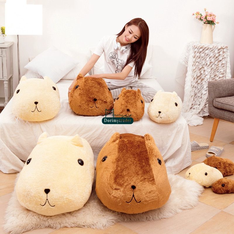 Dorimytrader Kawaii Soft Anime Capybara Plush Toy 85cm Giant Stuffed Cartoon Hamster Doll Animal Pillow Kids Gift 33inch DY61448