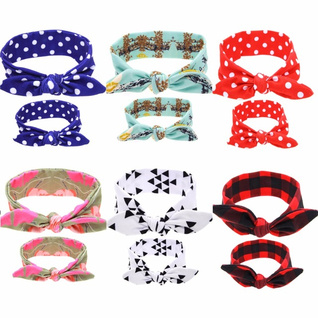 Puseky 2Pc/Set Mother Baby Turban Mom And Me Matching Headband Mom Daughter Rabbit Ears Headbands Floral Print Hair Accessories
