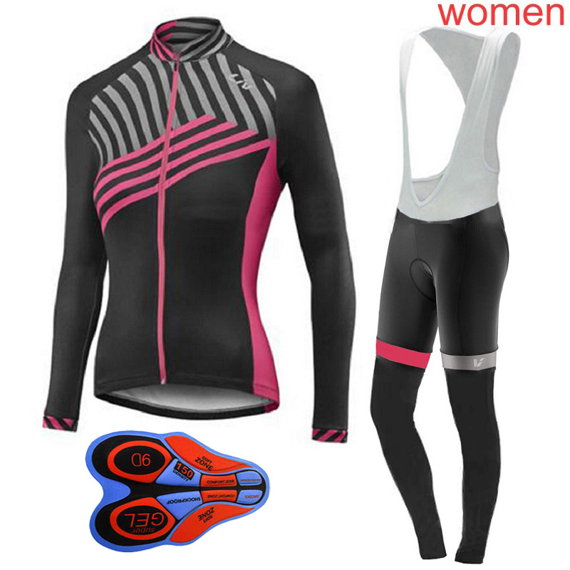 Cycling Sets Beautiful Pro Team Cycling Jersey Women 2019 Mountain Bike Clothes Long Sleeves Road Bicycle Shirt Bib Pants 9d Suit Ropa Ciclismo Y030702 Without Return Cycling