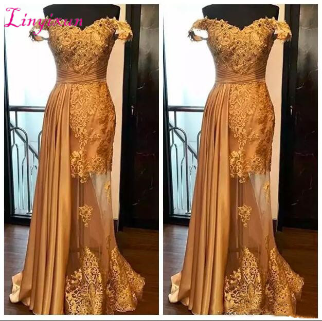 Middle East 2018 Off Shoulder Mermaid Prom Dresses Party Evening Gowns Gold Tulle Lace Beaded Custom Dubai Vestidos De Fiesta
