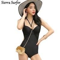 Push Up Swimwear One Piece Geometric One Piece Swimsuit Plus Size Korean Black Underwire Neck Polyester