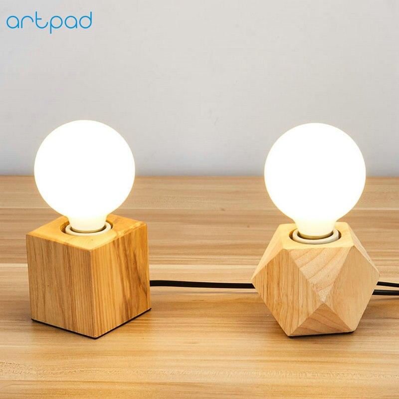 ArtPad Modern Natural Wood Table Lamp E27 Edison Bulb AC90V 260V Plug IN Cube LED Night Light for Kids Girl Boy Room Decoration