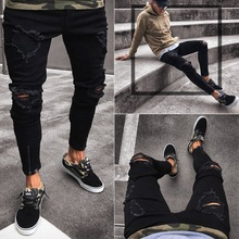 2019 New Black Ripped Jeans For Men Slim Zipper Denim Skinny Frayed Pants Distressed Stretch Hip-Top Trousers Black Jeans Homme