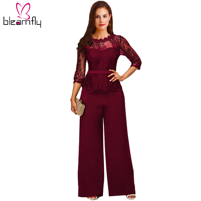 0698caab71d Elegant Formal Red Lace Jumpsuit for Women Overalls Sexy Mesh Patchwork  Romper Loose Long Trousers Female Wide Leg Jumpsuit