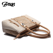 ZMQN Luxury Handbags Women Bag Designer 2017 High Quality Fashion Crocodile Tote Bags Handbag Women Famous Brand PU Leather A804