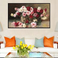 White Red Pink Roses Flowers Oil Painting Print on Canvas Waterproof Artwork for Bedroom Decoration 1 Piece Wall Art Frameless