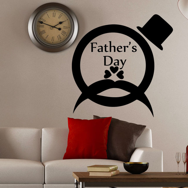 Merveilleux Wall Decal Quotes Fatheru0027s Day Mustache Hat Art Decals Home Decor Sticker