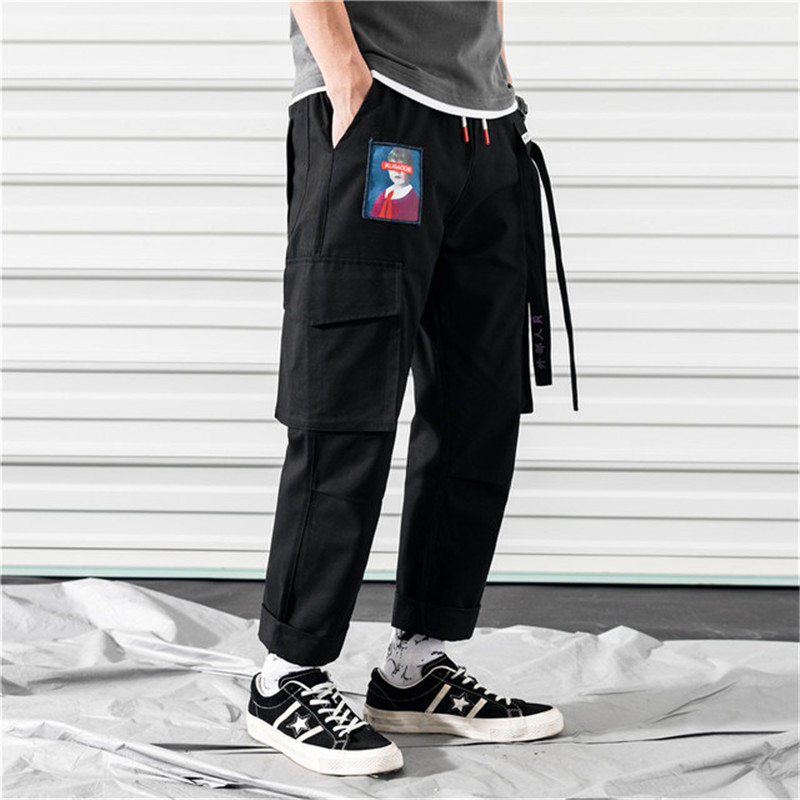 Men Joggers Hip Hop Harem Pants Streetwear Casual Men Pants 2019 Fashion Summer Trousers Pink Cargo Pants Men With Side Pockets