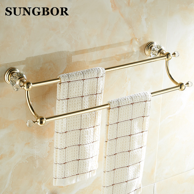 Brass & Crystal Golden double Towel Bar,Towel Holder, Towel Rack, Bars Products,Bathroom Accessories SH-99911K 2015 copper golden chrome bathroom accessories suite bathroom double towel bar soap bars brush holder discbathroom accessories