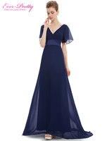 Free Shipping HE09890 Glamorous Black Double V Neck Ruffles Padded Short Sleeve Dresses Evening Pattern