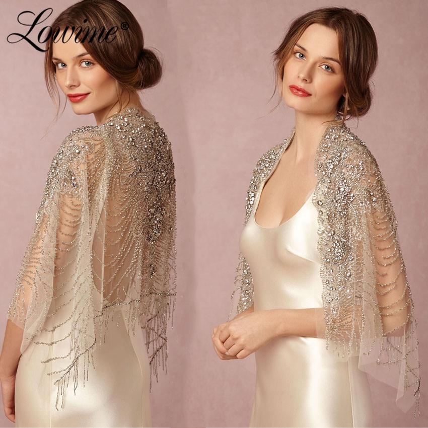 Couture Crystals Beaded Bolero Cape Women Tulle Wedding Bolero Cloak 2019 Custom Made Jacket Shrug Luxury Bridal Jacket On Sale