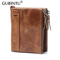 HOT Genuine Crazy Horse Cowhide Leather Men Wallet Short Coin Purse Vintage Mini Wallet Brand High