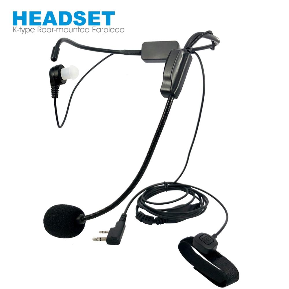 Unilateral Rear-mounted Neckband Earpiece Headset Mic For Kenwood BAOFENG Walkie Talkie Radio Finger PTT Rod Microphone Earphone
