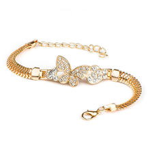 SHUANGR Vintage Crystal Butterfly Charm Bracelets & Bangles with Golden Snake Chain Bracelets For Women Jewelry High Quality(China)