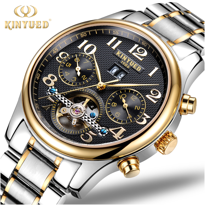 KINYUED Tourbillon Mechanical Watch Mens Skeleton Gold Calendar Automatic Watch Men Stainless Steel Waterproof Mecanique Relogio kinyued luxury mens watch mechanical automatic tourbillon skeleton men watches gold stainless steel band auto date wristwatch