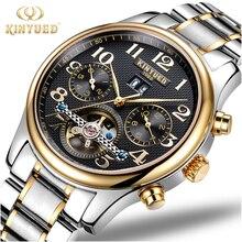 KINYUED Tourbillon Calendario Reloj Mecánico Mens Esquelético de Oro Reloj Automático de Los Hombres de Acero Inoxidable A Prueba de agua Relogio Mecanique