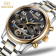 KINYUED Tourbillon Mechanical Watch Mens Skeleton Gold Calendar Automatic Watch Men Stainless Steel Waterproof Mecanique Relogio