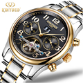 Kinyued Tourbillon Mechanical Watch Automatic Skeleton Men Gold Calendar Waterproof Stainless Steel Watches Man Montre Mecanique