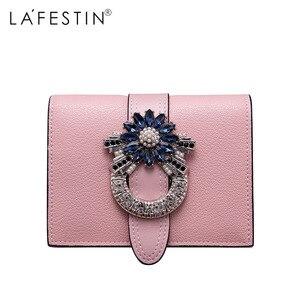 Image 4 - Marca LAFESTIN, Cartera de lujo de diseñador con diamantes, monedero corto, titular de la tarjeta femenina, monederos, billeteras, cartera femenina