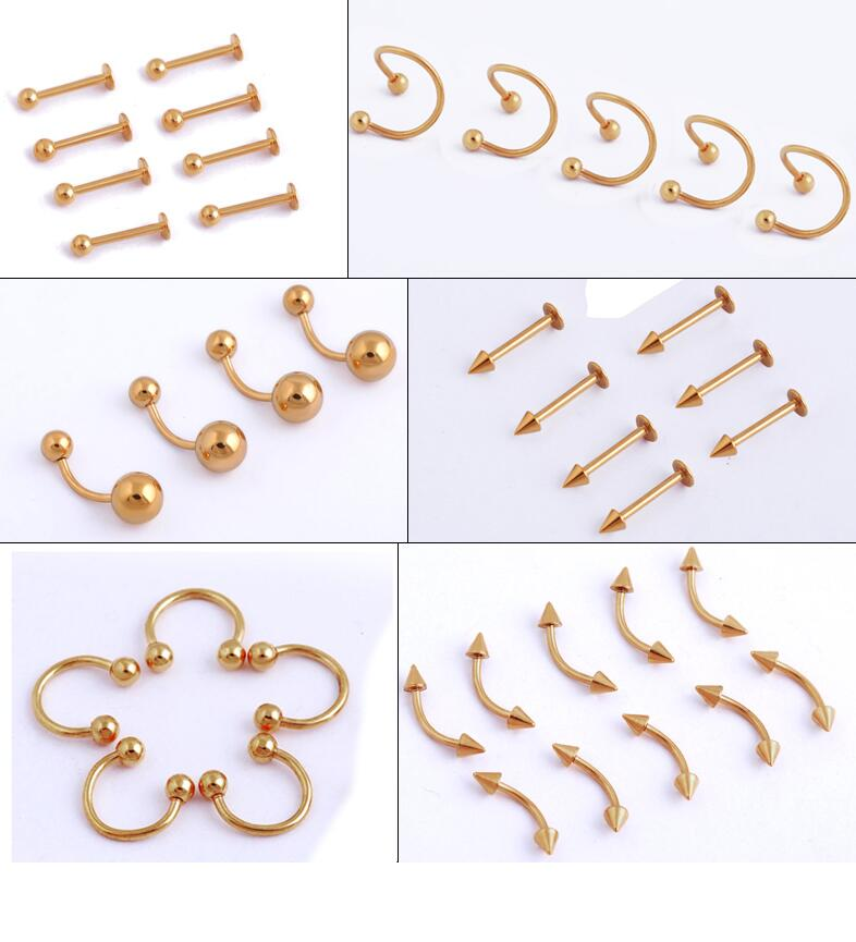6 pcs /lot Gold Titanium Anodized Stainless Steel Captive Eyebrow Nose Lip Ear Ring Tragus Earring Tongue Piercing Body Jewelry