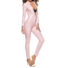 2019 Wetlook New Sexy Womens Spandex Pink Latex PVC Bodysuit PU Zentai Suit Hot Shiny Faux Leather Zipper Tight Female Costume