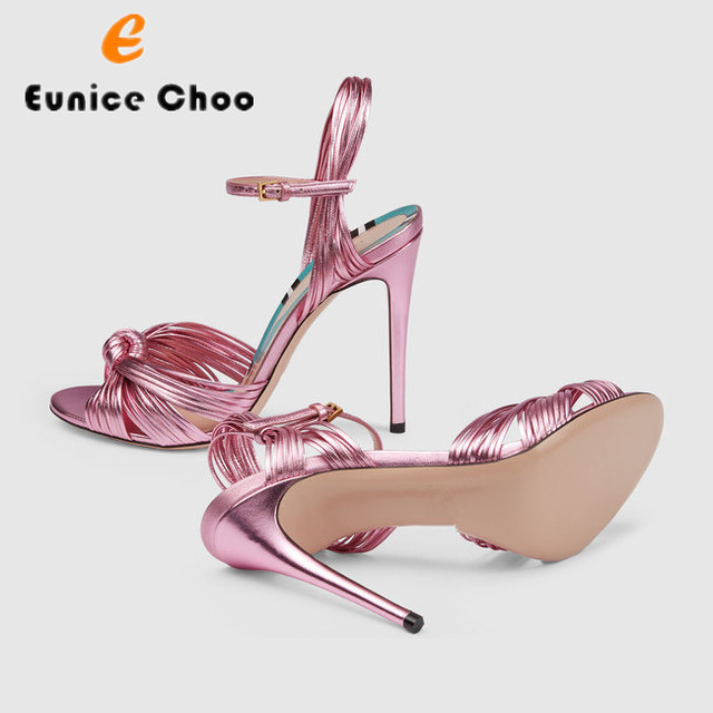 Eunice Choo Open Toe High Heels Summer Sandals Woman Narrow Band Knot Snake Prints Buckle Strap Sexy Slingback Party Dress Shoes