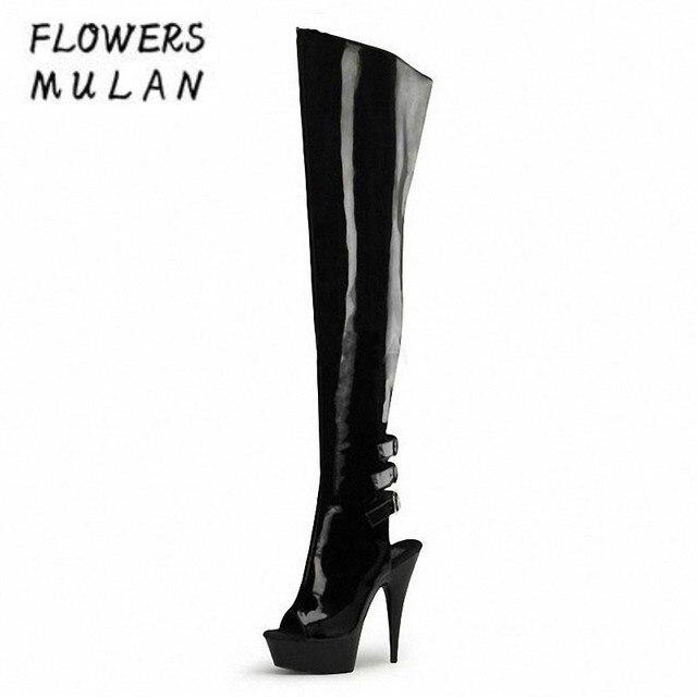 b837c413e88c Sexy Patent Leather Knee High Boots Women Peep Toe Fretwotk Back With Buckle  Platform 15 CM High Heels Gladiators Botas Woman