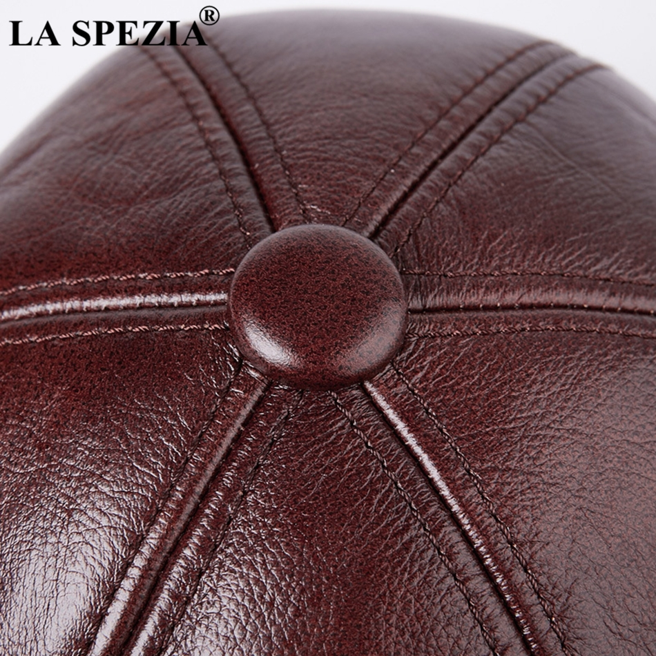 249c8b8a7bd LA SPEZIA Burgundy Hat Beret Men Casual Genuine Leather Male Ivy Caps Warm  Winter Thick Adjustable Designer Duckbill Flat Hats-in Berets from Apparel  ...