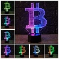 Acrylic Bitcoin Mixcolor 3D LAMP Mood Night Light RGB LED Lighting USB Touch Base Table Desk Beside Decorative