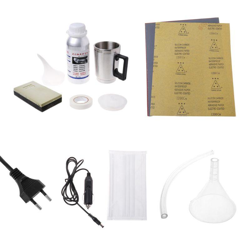 Kit d'outils de rénovation de verre de phare de voiture revêtement hydrophobe réparation des rayures prise EU
