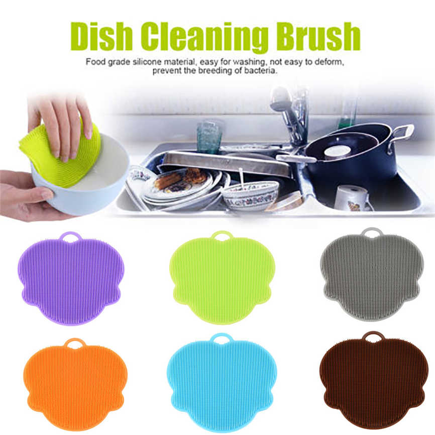 New Quality 1Pcs Silicone Dish Washing Sponge Scrubber Kitchen Cleaning Antibacterial Tool 12x12.6x0.8cm Dropshipping &109